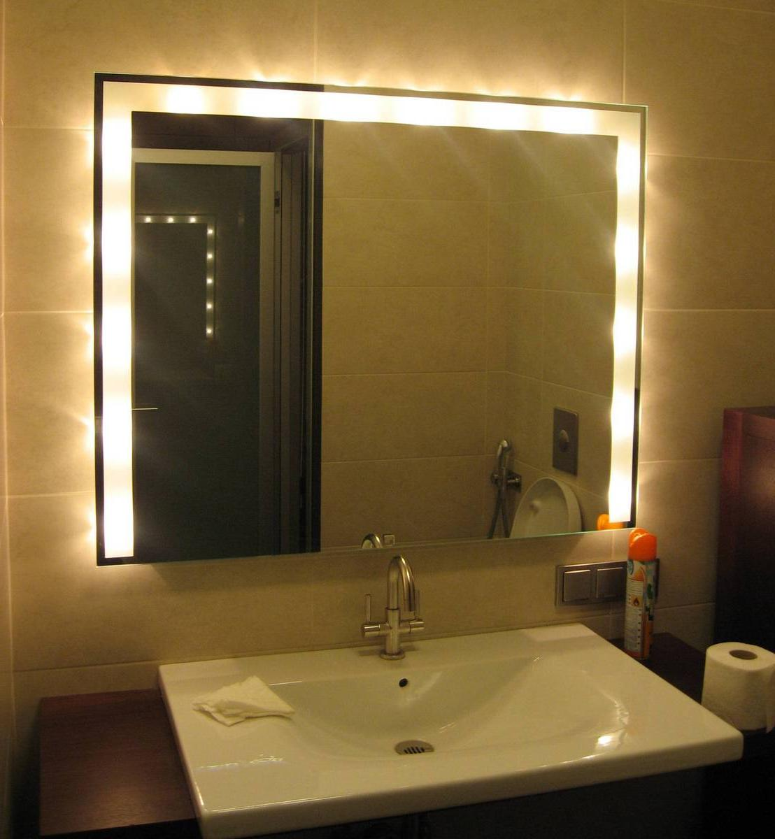 Amazing Bathroom Led Lighting Design Behind Square Mirror