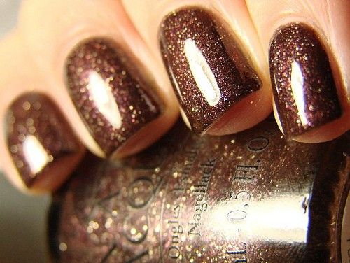 Glitter Brown Nails